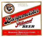 Burgemeister Pilsner Beer Bottle Label Warsaw Illinois 1970's Unused