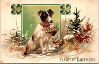 A HAPPY BIRTHDAY - VINTAGE - CLOVER - DOG BASKET FLOWERS - POSTCARD