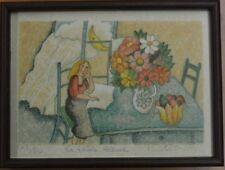 """DEBERDT FRANCOISE Litographie  EA 71/80 """" La table bleu """" cadre et verre"""