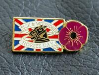 New purple POPPY pin badge Union Jack Sick & Wounded Horses Day