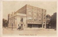 B85/ Angola Indiana In Real Photo RPPC Postcard c1930s Masonic Temple Building