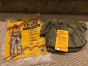 Vintage NOS - Sportsman Choice Size Small Vinyl Waders Stocking Foot Chest Wader