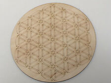 Wooden Medium Crystal Grid Plate Flower of Life Sacred Geometry Healing Spirit