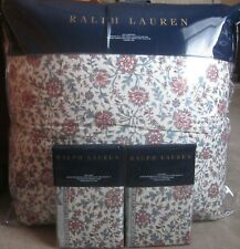 Ralph Lauren Belle Pointe Avah King Comforter Set 3p Turquoise Dusty Red
