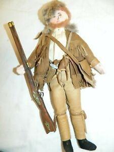 Vtg Davy Crockett Doll 13' in Hand Made Leather Buckskin Clothes & Toy Weapons