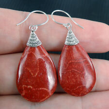 RED CORAL 925 Sterling Silver Earrings Jewellery, Teardrop Shape