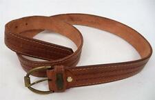 MENS QUALITY VINTAGE CHUNKY BROWN TAN WORN IN WESTERN BUCKLE BELT indie mod
