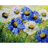 BLUE and WHITE Summer Flowers MEADOW Daisy Blue Wildflowers Original Modern