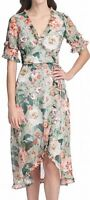 Kensie Womens Dress Classic Green Size 4 Sheath Faux-Wrap Floral Print $118- 107