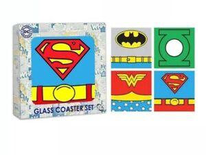 DC Comics Super Heroes Glass Coasters Wonder Woman Batman Superman Lantern Set 4