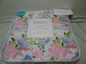 Sugar Studio 6 pc Queen Sheet Set Blossom Floral ~ Pink, Purple, Green Flower