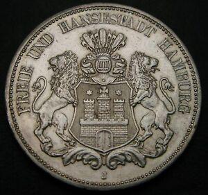HAMBURG (German City) 5 Mark 1875 J - Silver - XF- - 480