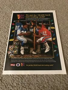 Vintage 1991 WILD CARD FOOTBALL CARDS Print Ad BARRY SANDERS STEVE ATWATER