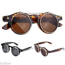 Steampunk Goggles Glasses Round Sunglasses Emo Retro Vintage Flip Up Cyber Goth
