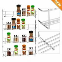 4 Tier Spice Rack Organizer Wall Mount Door Storage Kitchen Shelf Space Saver WN