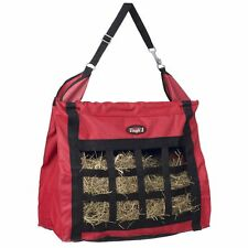 Tough-1 Nylon Hay Bag Tote with Inside Dividers and Mesh Bottom Red