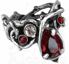 Alchemy Gothic 1/4oz 'Tears of Passion' Red Swarovski Crystal Tangled Thorn Ring