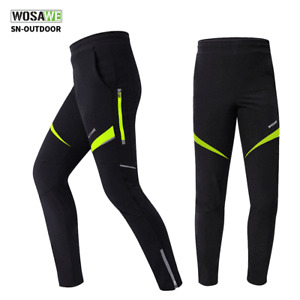 Men Cycling Pants Fleece Warm Thermal Trousers Windproof Cycle Long Pants
