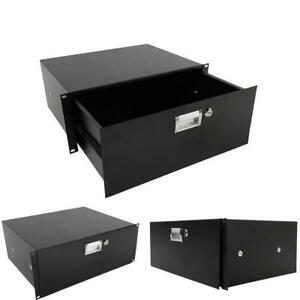 19 Inch Rack Mount 4U Plate DJ Drawer Equipment Cabinet Lockable with key Black