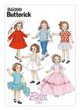"Butterick SEWING PATTERN B6000 Dolls Clothes For 18""/45cm Dolls,Retro 1950s"