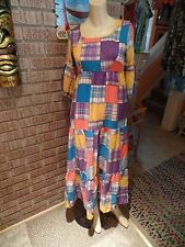 Women's Vintage 60's 70's Jennifer Dale Cotton Blend Patchwork Look Dress XS