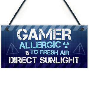 Novelty Gaming Sign Plaque Gamer Gifts For Son Brother Boys Bedroom Christmas