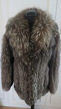 Real Platinum Arctic Silver fox fur women's jacket coat sz S UK 8-10 EU34 US4