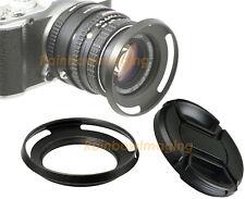 39mm Metal Slim Low Profile Curved Tilted Vented Wide Angle Lens Hood +Lense Cap
