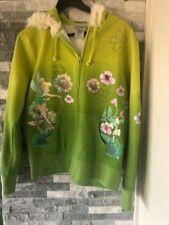Women Disneyland Resort Tinker Bell Textured Print Hoodie Sherpa-Green-Sz Large