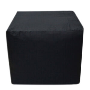 Indian Plain Black Square Ottoman Pouf Cover Footstool Seating Case 100% Cotton