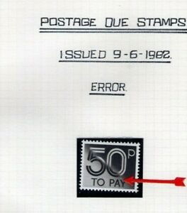 GB QEII POSTAGE DUE 1982 50p ERROR DOT OVER `Y` UMM SEE SCAN