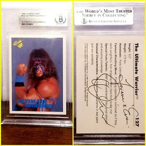 ⭐💢 THE ULTIMATE WARRIOR 💢⭐ AUTHENTIC autographed '90 CLASSIC WWF Beckett BAS
