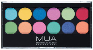 MUA Eyeshadow Palette 12 Matte & Shimmer Bright Shades Silent Disco Cruelty Free