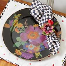 MacKenzie-Childs Black Flower Market Charger Dinner Plate 12 plates available