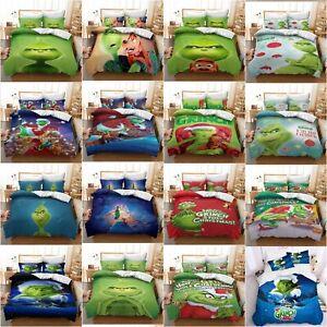 3D Christmas Santa Bedding Set 2/3Pcs Xmas Grinch Duvet Cover Pillowcase Bed Set