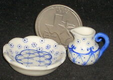 Dollhouse Miniature Pitcher & Wash Basin 1:12 Bath Mexican Puebla Blue #2633