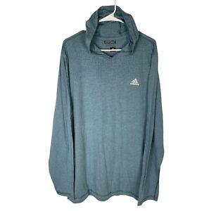 Adidas Aeroknit  Long Sleeve Hoodie Shirt Mens XL Climacool Polka Dot Blue Green