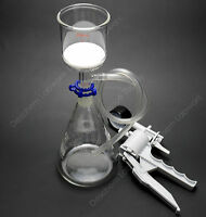 1000ml,Vacuum Suction Filter Device,200ml Buchner Funnel,1L Flask,W/Handle Pump