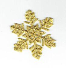 "Iron On Embroidered Applique Christmas Medium Gold Snowflake 1.75"""