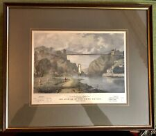 Vintage Framed & Mounted Colour Print Avon Suspension Bridge St Vincent's Rock