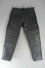 STIMS BLACK LEATHER BIKER TROUSERS: WAIST 34 INCHES/INSIDE LEG 28 INCHES