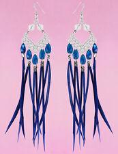 F3949 blue slim Feather earrings tear drop bead silver rhombus ornament new
