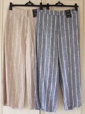 Ladies M&S Collection Sizes 16 18 20 22  Linen Blend Wide Leg Trousers