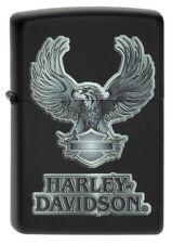 ZIPPO Feuerzeug Harley Davidson EAGLE Black matte Motorrad Biker Adler NEU OVP