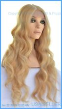 LACE FRONT SYNTHETIC HUMAN HAIR  BLEND WAVY BLOND WIG FS613.27 USA SELLER 1325