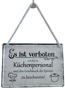 Blechschild Hängeschild 16x11cm Es ist verboten Küchenpersonal Gaststätte Koch