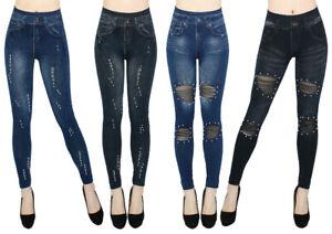 High Waist Damen Jeggings Leggings Jeansoptik Jeans Optik Leggins Hose