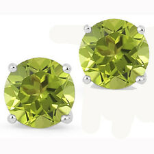 @@ Wholesale 925 Sterling Silver 1.50ct Created Peridot Round Stud Earrings