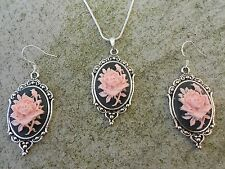 PINK ROSE CAMEO NECKLACE AND EARRINGS SET (black) 925 PLATE-- QUALITY