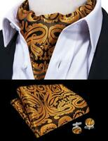 Mens Gold Paisley Silk Ascot Cravat Necktie Jacquard Handkerchief Cufflinks Set